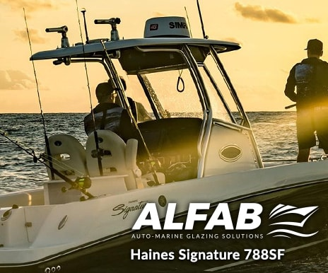 haines centre console boat windshield