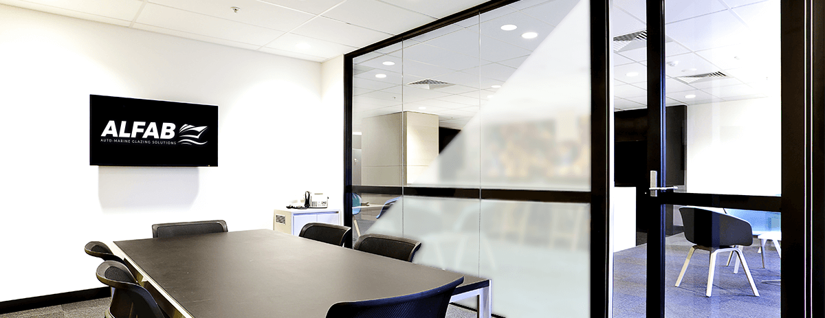 Office wall made of frosted switchable glass