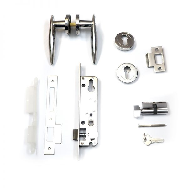 AUSWIDE FULL STAINLESS STEEL POLISHED LEVER LOCKSET